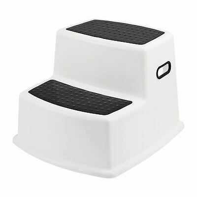 White Toddler Children Step Stool For Toilet Training Kids Non Slip Double Step • 11.49£