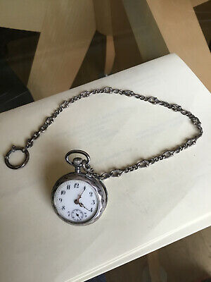 Remontoir Cilindre 10 Rubis Ladies Silver Pocket Watch And Chain • 75£