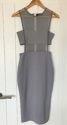 £8 • Buy Missguided Ice Grey Midi Dress: Size 8, Mesh Front, Cut Out At Side, Used
