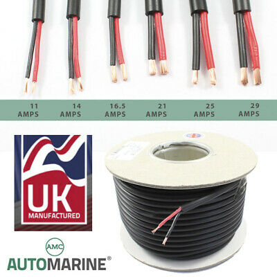 TWIN 2 Core PVC Cable 12v 24v Thin Wall Wire Automotive Red Black ROUND Profile  • 6.95£