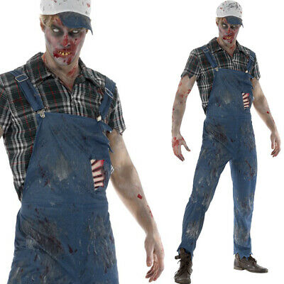 Mens Zombie Hillbilly Costume – Halloween Male Dungarees Outfit • 32.49£