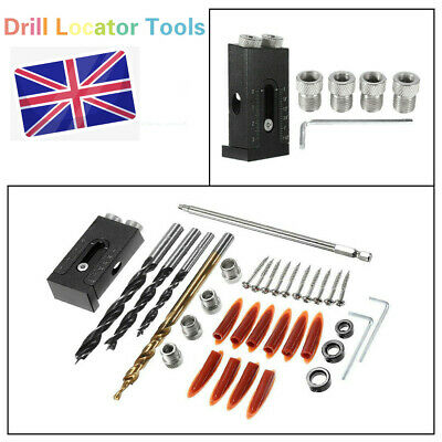 Pocket Hole Drilling Jig Step Kit Woodworking Guide Oblique Drill Locator Tools • 13.81£