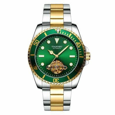 AU36.99 • Buy Automatic Men Mechanical Watch Emerald Dial Stainless Steel Business Wristwatch