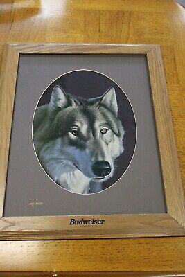 $ CDN100.56 • Buy Rare Vintage 1994 Budweiser Mirror Gray Wolf Signed Numbered Hans Droog