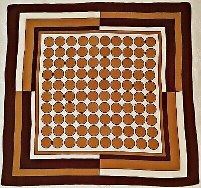 £19.76 • Buy Scarf Vintage Authentic Polka Dot Brown White Mustard Silk 34  Square