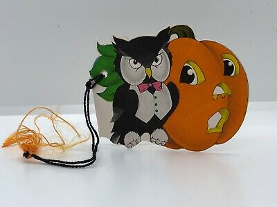 $ CDN13.20 • Buy Vintage 1940's Halloween Collectible Black Owl And Jack-O-Lantern Tally Card 🎃