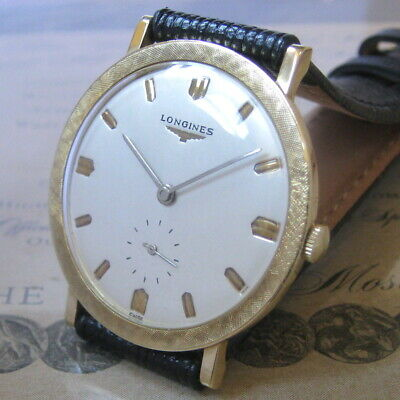 $ CDN363.30 • Buy Mens 1958 Longines 14K SOLID GOLD Engraved Bezel Vintage 17j Swiss Made Watch A+