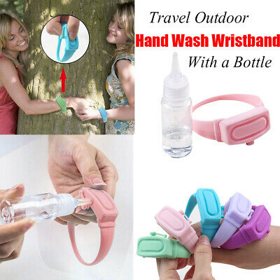Hand Cleaning Gel Refillable Wristband Dispenser Wearable Squeezes Soap • 3.30£