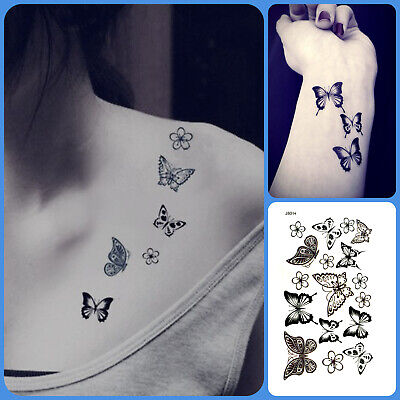 Butterfly Flower Waterproof Temporary Tattoo Fake Sticker Henna For Women Girls  • 2.09£