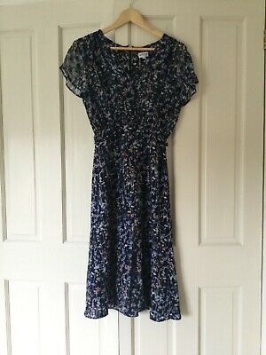 Brora Silk Dress Floral Navy Blue Size 8 • 75£