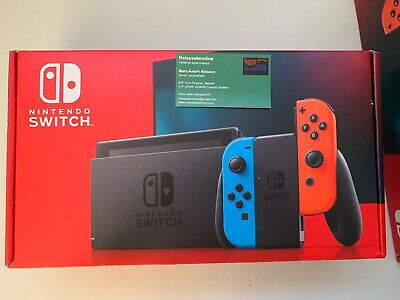 $ CDN465 • Buy Nintendo Switch ConsoleV2 Black With Neon Blue And Neon Red Joy-Controller New