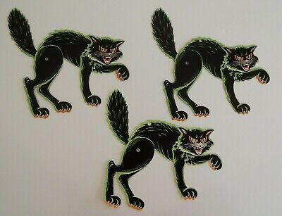 $ CDN33.01 • Buy Vintage Beistle Jointed Black Cat Halloween Diecut Cardboard Decoration Lot Of 3