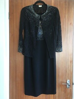 Beautiful Viyella Black Cocktail Dress And Jacket Size 8 • 12£