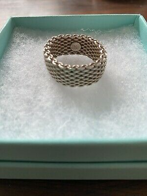 Authentic Tiffany & Co. Somerset Mesh Heart Sterling Silver Band Ring • 150£