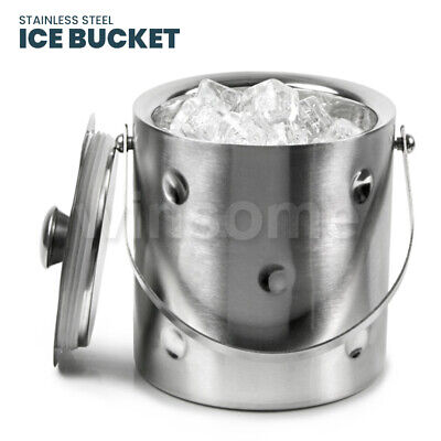 Large Double Walled Stainless Steel Insulated Ice Bucket With Tongs Lid 2 LTR • 16.99£