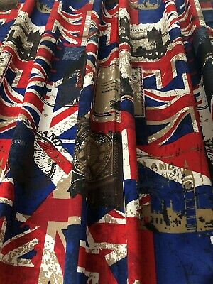 "Union Jack/London 54"" Drop Fully Lined Curtains • 49£"