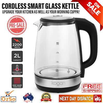 AU46.22 • Buy NEW Cordless Glass 2L Electric Smart Kettle Colourful LED Lights Keep Warm 2200W