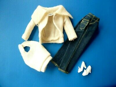 $ CDN59.99 • Buy Vintage Barbie White Cardigan, Halter, Jeans & Shoes From 1960's
