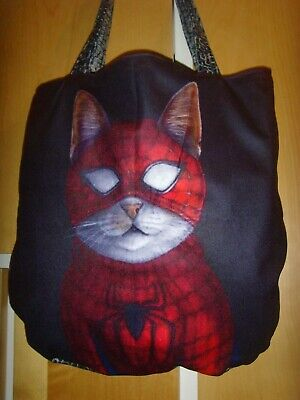 £12.99 • Buy NEW MADE IN QUIRKY SPIDERMAN  CAT PRINT 15in LARGE Tote SHOULDER Bag LINED