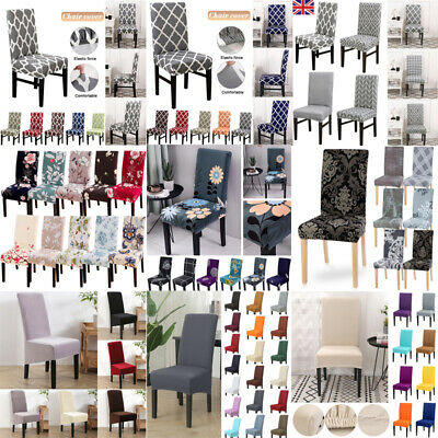 UK Elastic Stretch Dining Chair Covers Slipcovers Kitchen Chair Protective Cover • 3.99£