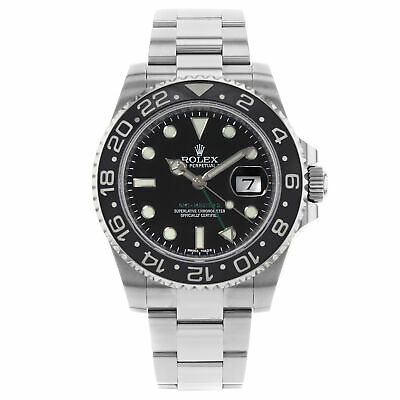$ CDN13873.91 • Buy Rolex GMT-Master II Black On Black Green Hand Steel Automatic Mens Watch 116710
