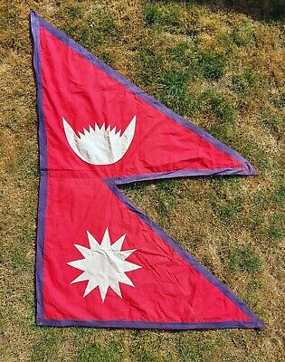 Rare Large Vintage Flag Of Nepal / Nepalese - 73  X 55  Quality Appliqué Sewn • 75£