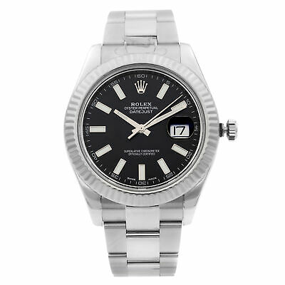 $ CDN12660.62 • Buy Rolex Datejust 41mm Steel 18K White Gold Black Dial Automatic Mens Watch 116334
