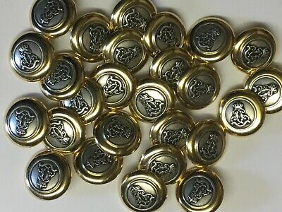 8 Gold / Raised Pewter Design Metal 20mm Shank Back Top Quality Buttons (BM135A) • 2.10£