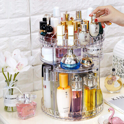 360 Rotating Makeup Organiser Case Cosmetic Storage Box Perfume Display Stand • 9.29£