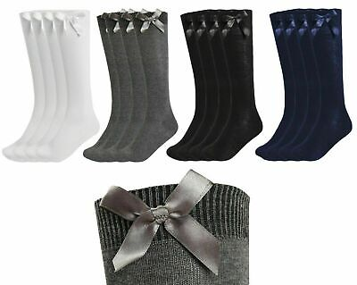 New Girls Up To 3 Pk Value Knee High Bow Detail Back 2 School Cotton Rich Socks • 3.60£