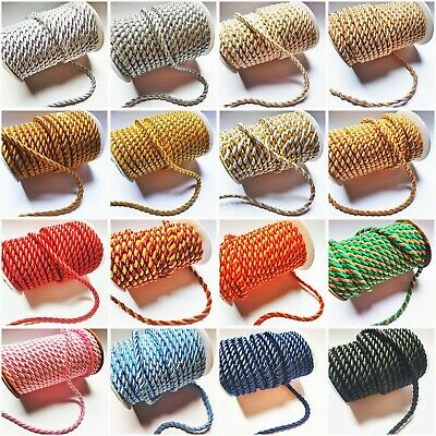 6mm Satin Twisted Barley Braid Cord Rope Trim - 17 Colours- 1m - Upholstery Xmas • 2.99£