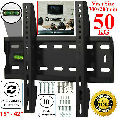 TV Wall Bracket Mount Slim Fixed For 15 21 24 30 32 37 42 Inch 3D LCD LED Plasma • 6.99£