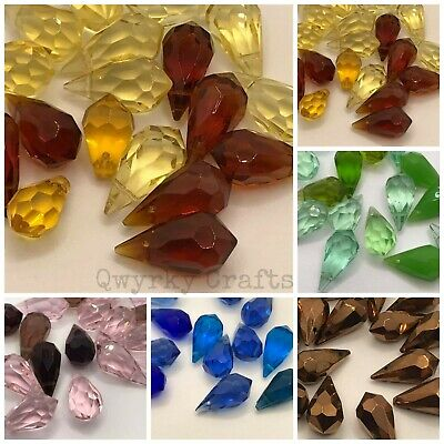 20pcs Teardrop Faceted Glass Crystal Beads Briolette Pear Shape 20mm X 10mm  • 3.49£