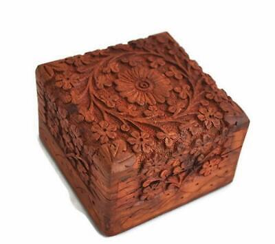 Hand Carved Wooden Keepsake Box Jewellery Chest Organiser Unique Gift Ideas  • 15.99£
