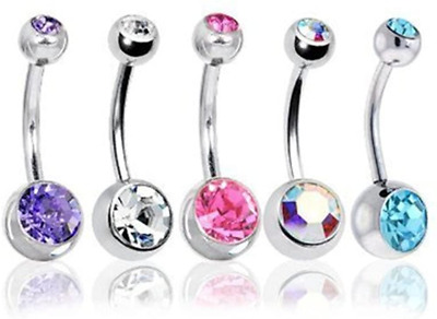 BODYA Belly Bars Balls Surgical Steel Belly Button Jewelry, Pack Of 5, Body • 5.24£