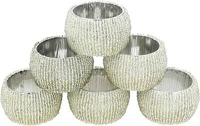 £11.99 • Buy Beaded Napkin Rings Set Of 6 Silver Decorations Christmas Ornaments