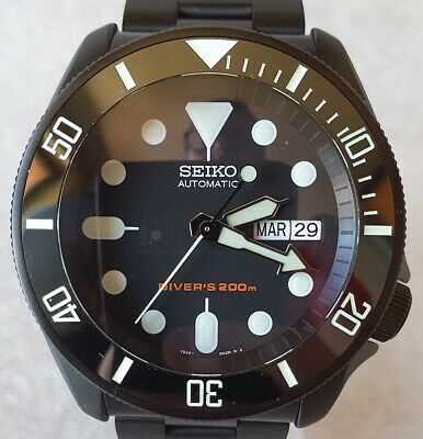 $ CDN750.43 • Buy SEIKO SKX007 Mod  Black And White Lumed  NH36A Black Steel Strap New Condition
