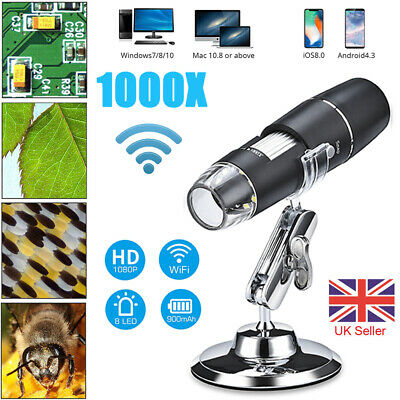 1000X Wifi Digital Microscope Magnifier USB Camera 8 LED For IPhone Android IOS • 18.99£