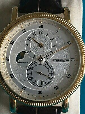 Rare Stuhrling Operetta Automatic Regulator Moonphase Coin Edge Box/Papers Mint • 104.41£