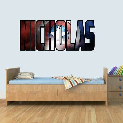 Personalised Marvel Shield Childrens Name Stickers Wall Art Decal Vinyl For Boys • 13.99£