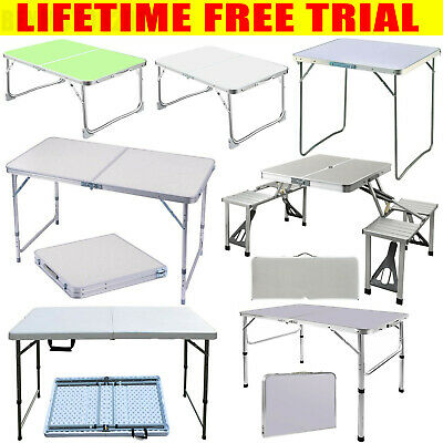 £14.71 • Buy Folding Table Portable Plastic Tables Camping Garden Party Trestle Heavy Duty