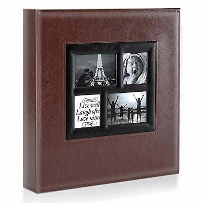 Photo Album | 500 Pockets 6x4 Photos | Extra Large Leather Cover Slip In | Brown • 26.99£
