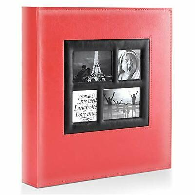 Photo Album | 500 Pockets 6x4 Photos | Extra Large Leather Cover Slip In | Red • 26.99£
