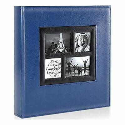 Photo Album | 500 Pockets 6x4 Photos | Extra Large Leather Cover Slip In | Blue • 26.99£