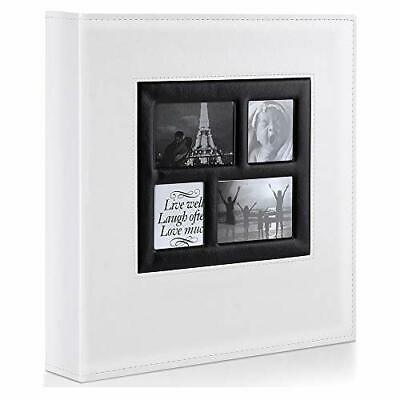 Photo Album | 500 Pockets 6x4 Photos | Extra Large Leather Cover Slip In | White • 28.99£