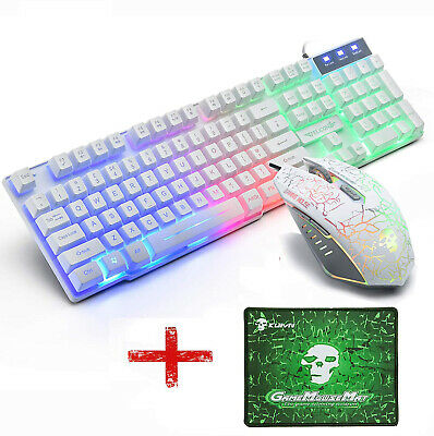 AU42.99 • Buy T6 Wired Gaming Keyboard And Mouse Set + Pad Rainbow Backlit For PS4 Xbox One PC