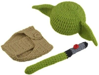 Newborn Photography Props Infant Handmade Costume Cap Cute Yoda Crochet Outfits • 6.99£
