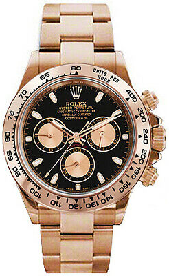 $ CDN52580.38 • Buy Rolex Daytona Chronograph Black Dial 18k Rose Gold Watch Box & Papers 116505