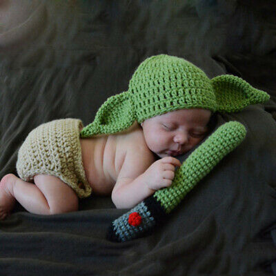 Baby Yoda Handmade Hat Newborn Cartoon Costume Fotografia Props Outfits Infant • 8.99£