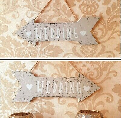 £3.99 • Buy Hanging Wooden Wedding Sign Decoration White Fun Party Arrow Shabby Chic Plaque